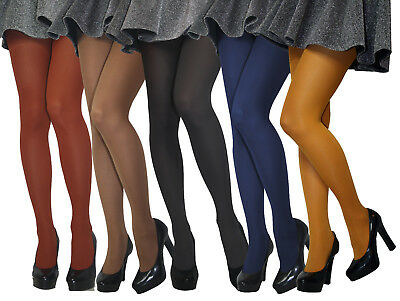 60 Denier Womens Opaque Microfibre TIGHTS Various Colours Size S -  XXL New