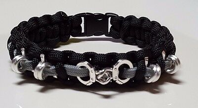 "Corrections Handcuff & Barb Wire ""Thin Gray Line"" Handmade Paracord Bracelet ™"