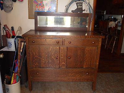 Helmers Manufacturing Co. Antique Buffet Sideboard with Beveled mirror