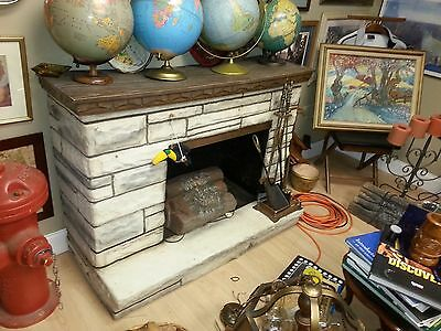Vintage Electric Fireplace 50's Fiberglass with heater and fake loggs