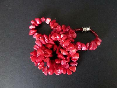 Dyed Coral Necklace Red Glass Beaded Silver tn Barrel Clasp Estate lot H597