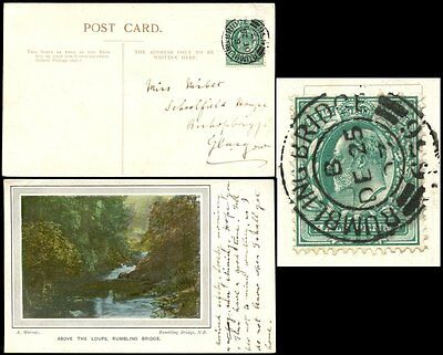Gb Ke7 1903 Ppc Rumbling Bridge Scotland...christmas Day Postmark