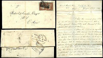 PENNY RED IMPERF 1849 2d RATE SCOTLAND GLASGOW + QUEEN STREET BOXED
