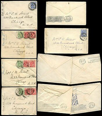 GB KE7 1904-06 MALVERN to CHICAGO...5 COVERS