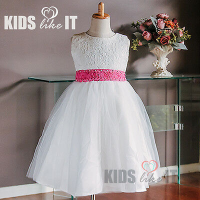 6 X Wholesale Bulk Lots White Flower Girls Lace Crystal Party Dress 2-10Y Rose