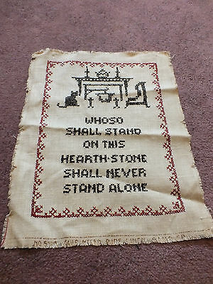 Vintage Handmade Needlepoint Sampler  CrossStitch Whoso Shall Stand On This Hear