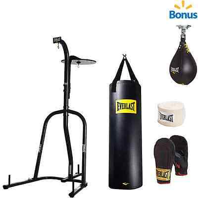New Everlast Dual Station Heavy Bag Stand 100 Lb Punching