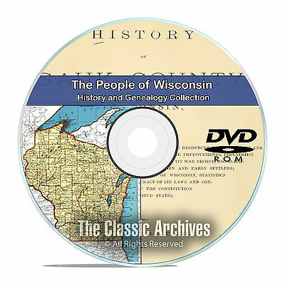 Wisconsin WI, People Cities Towns History and Genealogy 292 Books DVD CD B20