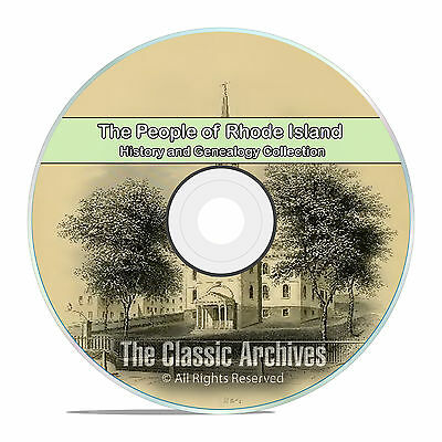 Rhode Island RI, People Cities Towns, History and Genealogy Books 125 DVD CD B12