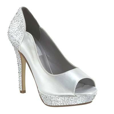 "Dyeable White Rhinestone Rosa Prom Bridal 4"" Womans High Heel Peep Toe Pump Shoe"