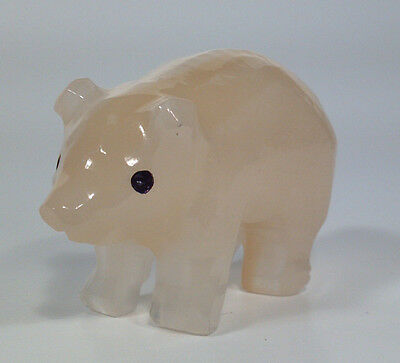 "Carved White Opaque Marble Stone Pig Figurine 2"" High 3"" Long- Very Cute!"