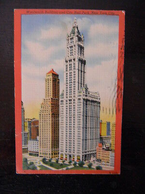 Linen New York City Postcard - Woolworth Building & City Hall