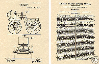 SELDON ROAD ENGINE US Patent Art Print READY TO FRAME! 1895 First Car George
