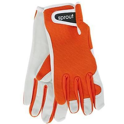 Sprout Orange Ladies Goat Skin Soft Leather Garden Gloves Womens Gardening New