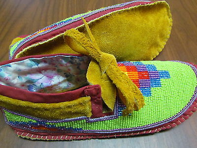 Native American Full Bead Moccasins 9 Inches Long With Colorful Mountain On Vamp