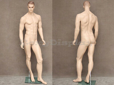 Male Fiberglass Realistic Mannequin with Molded Hair Dress From Display #MZ-WEN2