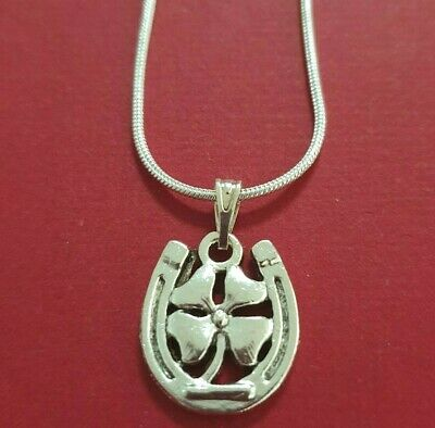 Horseshoe Necklace Silver Plated Luck jewelry lucky four leaf clover horse shoe