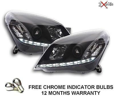 Vauxhall Astra H Mark 5 Led Black Drl R8 Style Devil Eye Projector Headlights
