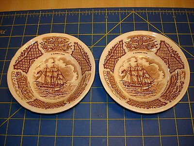"""2 """"FAIR WINDS"""" U.S.S. PORTSMOUTH OFF THE BARRIER FORTS CANTON FRUIT DISHES"""