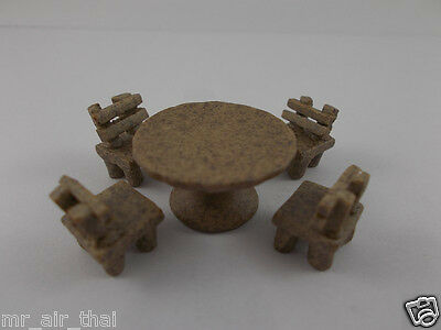 Vintage Antique Table Set Chairs Miniatures Furniture Dollhouse Doll Lot 5pc