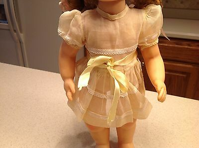 """Vintage Terri Lee Doll Clothes Fits 16"""" Doll Pale Yellow Dres W/Lace & Ribbon"""