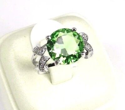 R#5491 simulated Green & White Topaz Gemstone ladies silver ring size 6