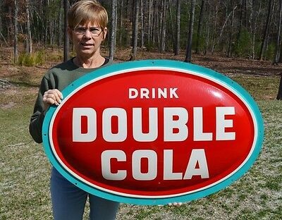 VINTAGE 50s DOUBLE COLA SODA CONVEX OVAL DRINK SIGN DEAD MINT MUSUEM QUALITY!