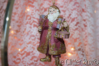 Christmas Ornaments Victorian Santa Carrying Packages Shabby Cottage Chic