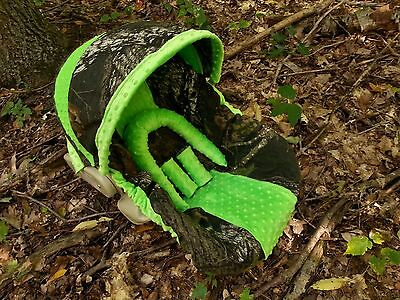 Camo Infant Car Seat Cover Mossy Oak Fabric And Lime Green Minky