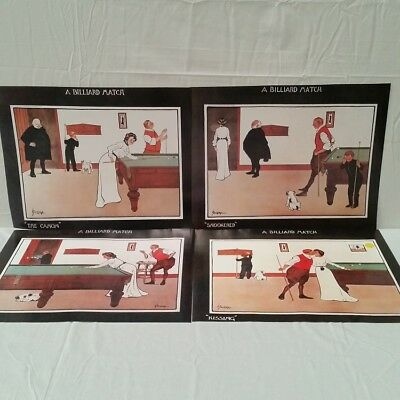 A Billiard Match set of 4 Posters