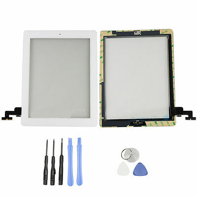 New Apple ipad 2 White Front Glass Touch Sreen Digitizer + Home Button + Tools
