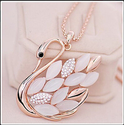 Rose Gold Plate Opal Crystal Swan Necklace Women Christmas Long Chain Necklaces
