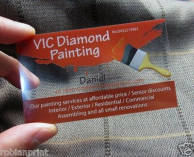 500 Clear Transparent Business Cards full colour printing 300gsm PVC