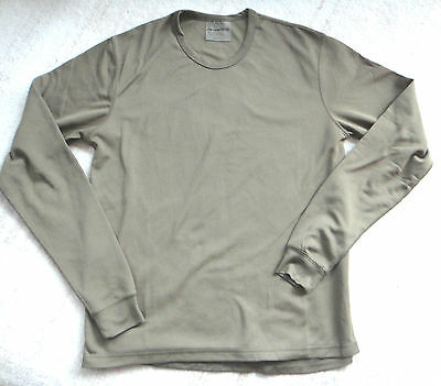 British Army Thermal vest warm Base layer Undershirt Fleece Lined Light Olive
