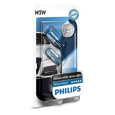 Philips WhiteVision W5W - Upgrade Sidelight / Indicator Bulb / Lamp - Twin Pack