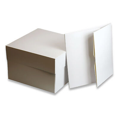 "Cake Box 8"" to 15"" - PACK OF 10 - Large White Card Decorating & Transport Box"
