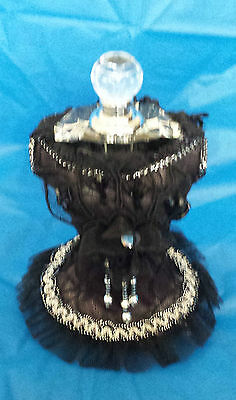 Beautiful Ornament Black Laced Bust Complete With Glass Removable Perfume Bottle