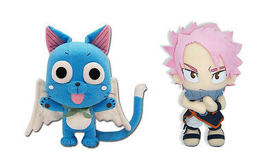 NEW AUTHENTIC SET OF 2 FAIRY TAIL ANIME STUFFED PLUSH TOY DOLLS - HAPPY/ NATSU