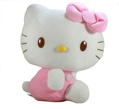 """New 11"""" Pink Overalls Hello Kitty Cute Stuffed Soft Plush Doll Toy by Eikoh!"""