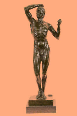 Nude Abstract Man by Rodin Bronze Sculpture Statue Art Deco Modern Marble Gift