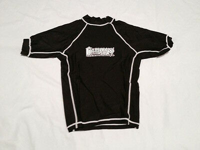 kids GAMENESS rash guard (summer)- solid BLACK - size YL (youth large)