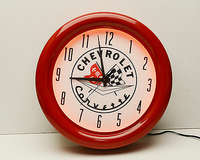 Corvette Neon Clock Red Metal Housing  Glass Front  Chevrolet Automobile Race