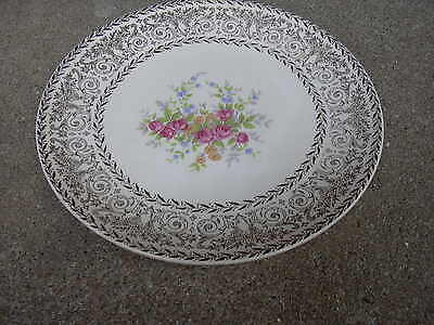 "Knowles 8"" Dessert Plate w Rose & Flower Bouquet   Gold Border"