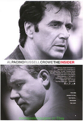 THE INSIDER MOVIE POSTER Original SS 27x40 AL PACINO RUSSELL CROWE Style  B