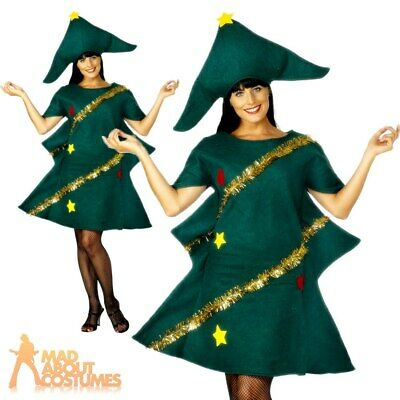 Adult Christmas Tree Costume Ladies Novelty Xmas Tree Fancy Dress Outfit New