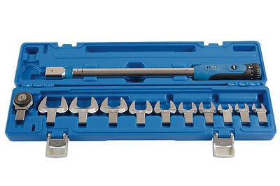 TORQUE WRENCH 40NM > 200NM WITH SELECTION OF CROWFOOT WRENCH SPANNERS 13 > 32mm