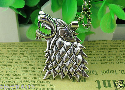 HOT Game of Thrones Stark Lannister Targaryen Wolf Head Pendant Chain Necklace