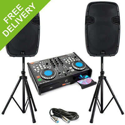 Dual CD MP3 SD player 2x 12 Inch Active PA Speakers Stands Mobile Disco DJ 1200W
