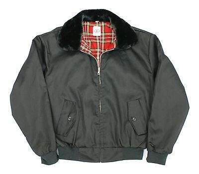 Classic 1970's Style Scooter Vintage Harrington  Fur Collar Retro Mod Jacket