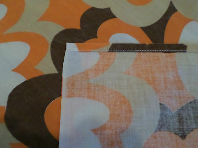 Vintage French Cotton 1970's Flowered Tablecloth, orange, yellow, brown, white.